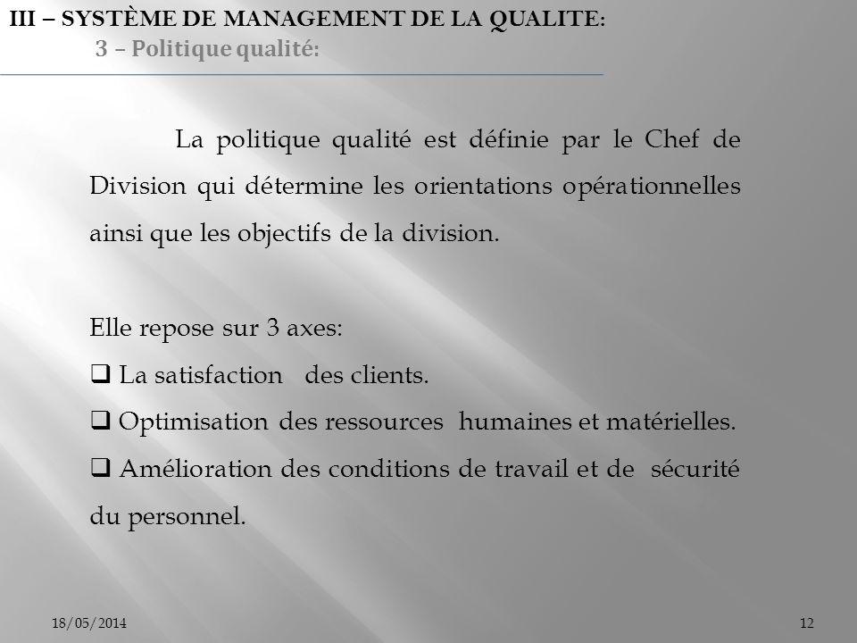 18/05/201412 III – SYSTÈME DE MANAGEMENT DE LA QUALITE: 3 – Politique qualité: La politique qualité est définie par le Chef de Division qui détermine