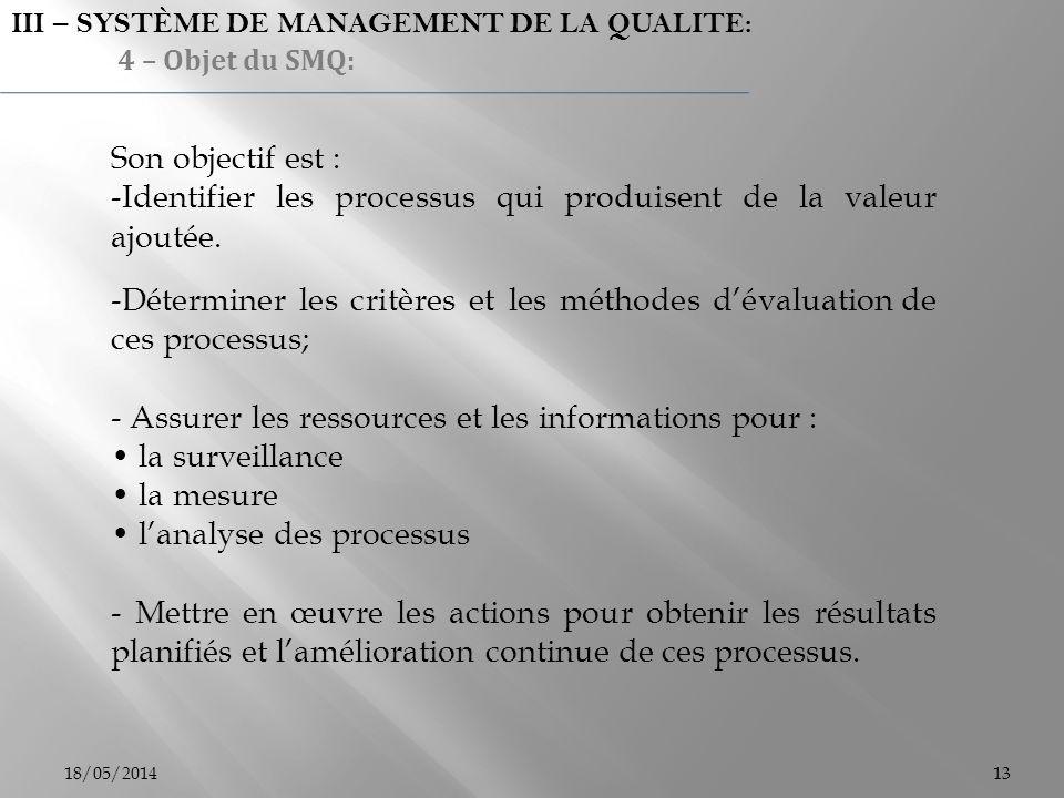 Son objectif est : -Identifier les processus qui produisent de la valeur ajoutée. -Déterminer les critères et les méthodes dévaluation de ces processu
