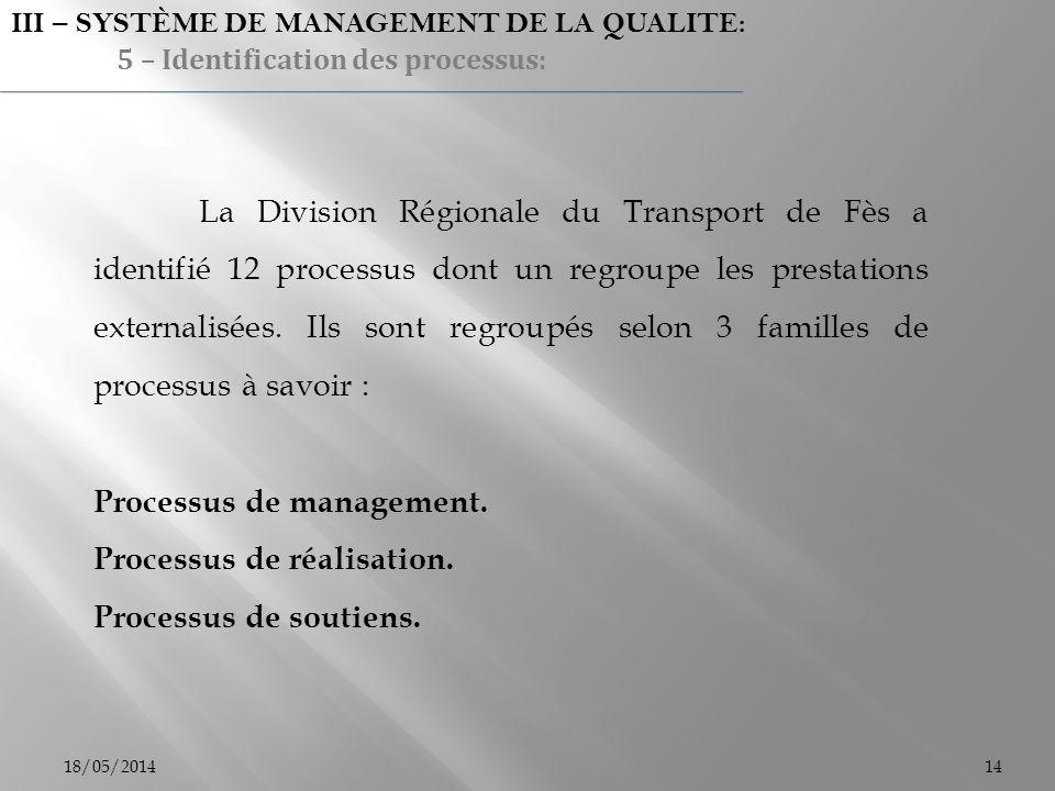 18/05/201414 La Division Régionale du Transport de Fès a identifié 12 processus dont un regroupe les prestations externalisées. Ils sont regroupés sel