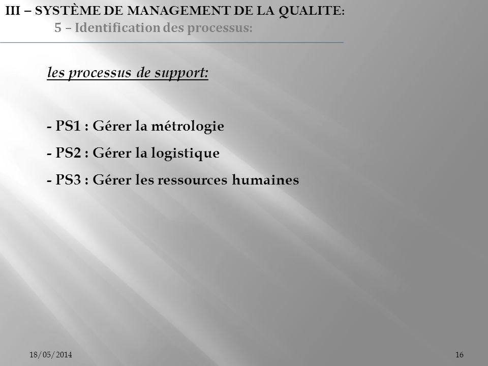 18/05/201416 les processus de support: - PS1 : Gérer la métrologie - PS2 : Gérer la logistique - PS3 : Gérer les ressources humaines III – SYSTÈME DE