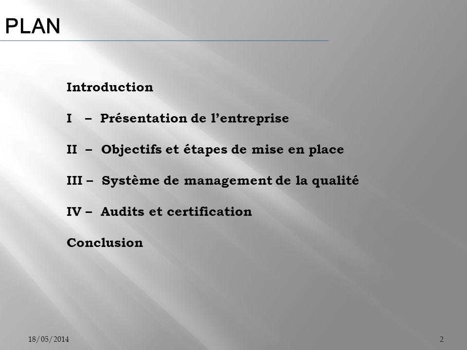 PLAN 18/05/20142 Introduction I – Présentation de lentreprise II – Objectifs et étapes de mise en place III – Système de management de la qualité IV –