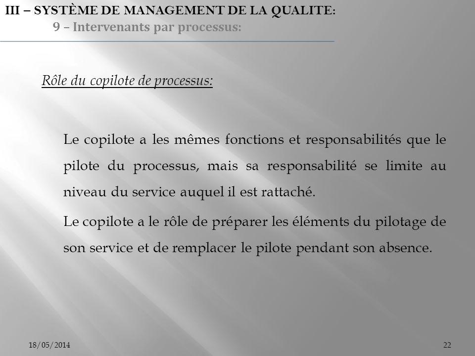 18/05/201422 Rôle du copilote de processus: Le copilote a les mêmes fonctions et responsabilités que le pilote du processus, mais sa responsabilité se