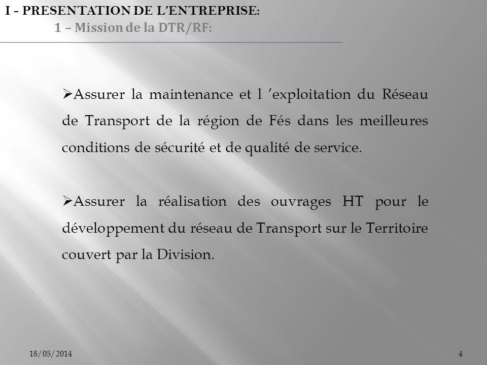 18/05/20144 I - PRESENTATION DE LENTREPRISE: 1 – Mission de la DTR/RF: Assurer la maintenance et l exploitation du Réseau de Transport de la région de