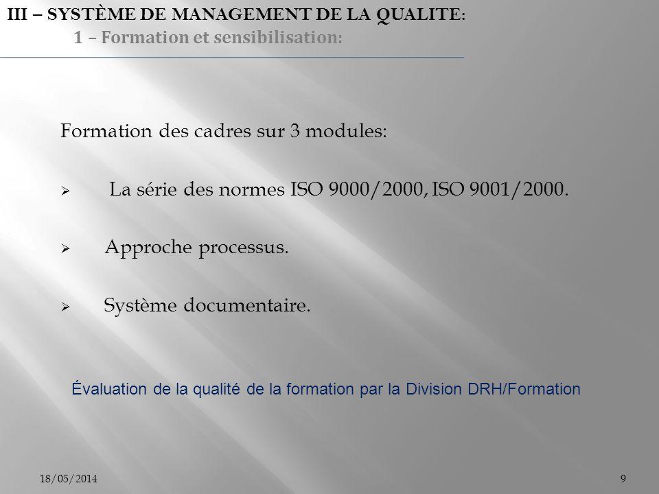 Formation des cadres sur 3 modules: La série des normes ISO 9000/2000, ISO 9001/2000. Approche processus. Système documentaire. Évaluation de la quali