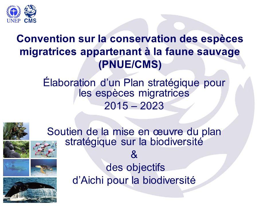 Convention sur la conservation des espèces migratrices appartenant à la faune sauvage (PNUE/CMS) Élaboration dun Plan stratégique pour les espèces migratrices 2015 – 2023 Soutien de la mise en œuvre du plan stratégique sur la biodiversité & des objectifs dAichi pour la biodiversité