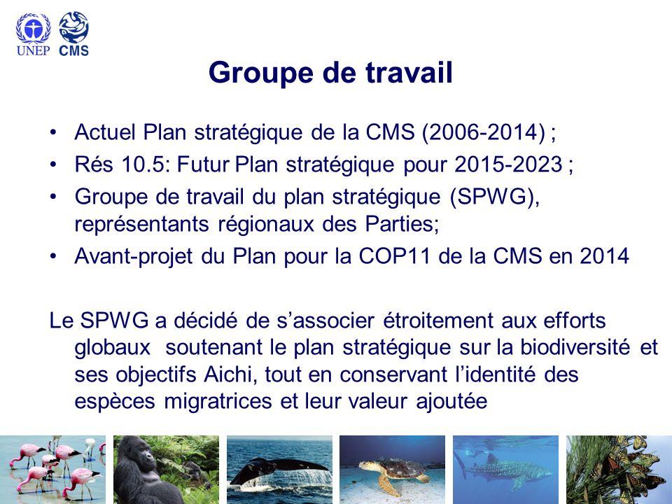 Groupe de travail Actuel Plan stratégique de la CMS (2006-2014) ; Rés 10.5: Futur Plan stratégique pour 2015-2023 ; Groupe de travail du plan stratégique (SPWG), représentants régionaux des Parties; Avant-projet du Plan pour la COP11 de la CMS en 2014 Le SPWG a décidé de sassocier étroitement aux efforts globaux soutenant le plan stratégique sur la biodiversité et ses objectifs Aichi, tout en conservant lidentité des espèces migratrices et leur valeur ajoutée