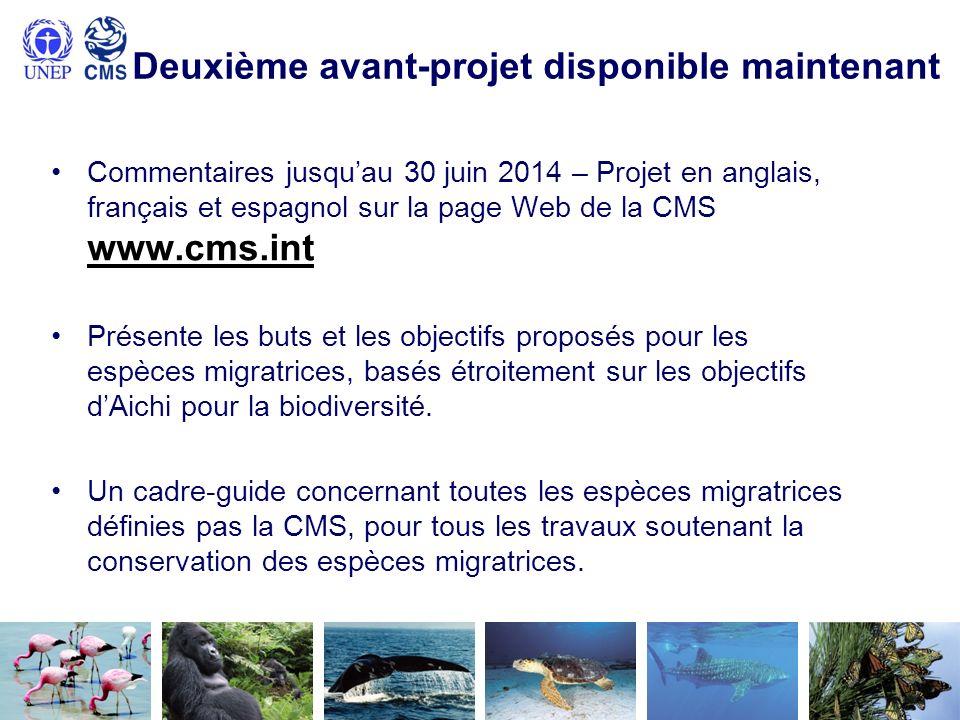Deuxième avant-projet disponible maintenant Commentaires jusquau 30 juin 2014 – Projet en anglais, français et espagnol sur la page Web de la CMS www.cms.int Présente les buts et les objectifs proposés pour les espèces migratrices, basés étroitement sur les objectifs dAichi pour la biodiversité.