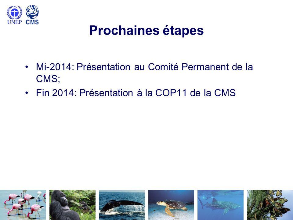 Prochaines étapes Mi-2014: Présentation au Comité Permanent de la CMS; Fin 2014: Présentation à la COP11 de la CMS