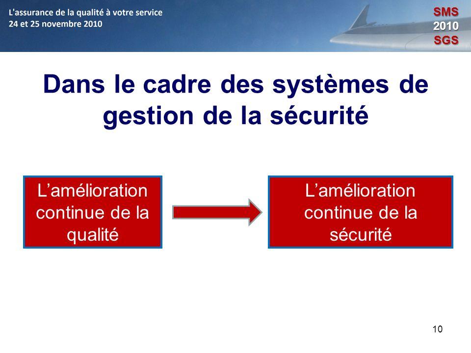 10 Dans le cadre des systèmes de gestion de la sécurité Lamélioration continue de la qualité Lamélioration continue de la sécurité SMS2010SGS