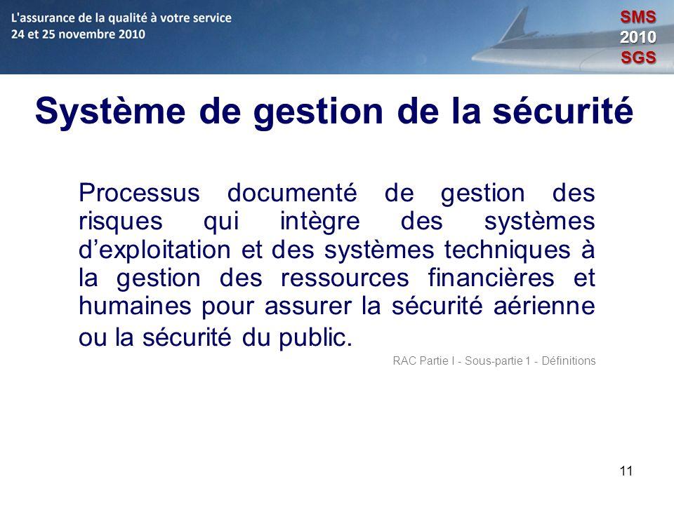 11 Système de gestion de la sécurité Processus documenté de gestion des risques qui intègre des systèmes dexploitation et des systèmes techniques à la