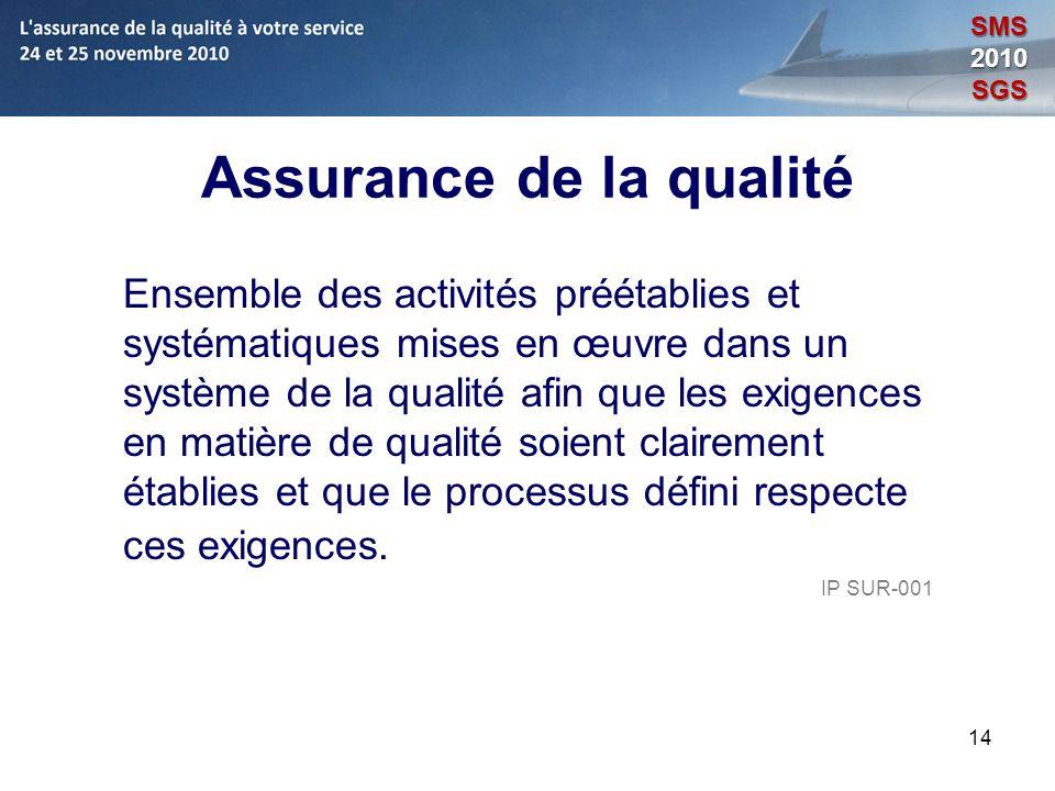 14 Assurance de la qualité Ensemble des activités préétablies et systématiques mises en œuvre dans un système de la qualité afin que les exigences en