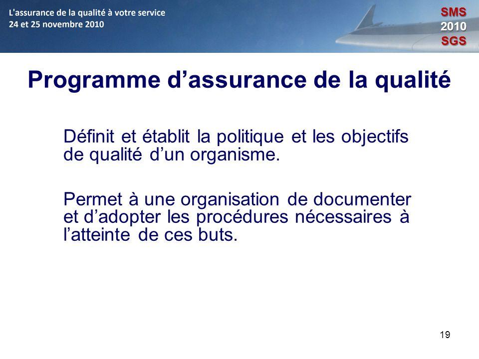 19 Programme dassurance de la qualité Définit et établit la politique et les objectifs de qualité dun organisme. Permet à une organisation de document