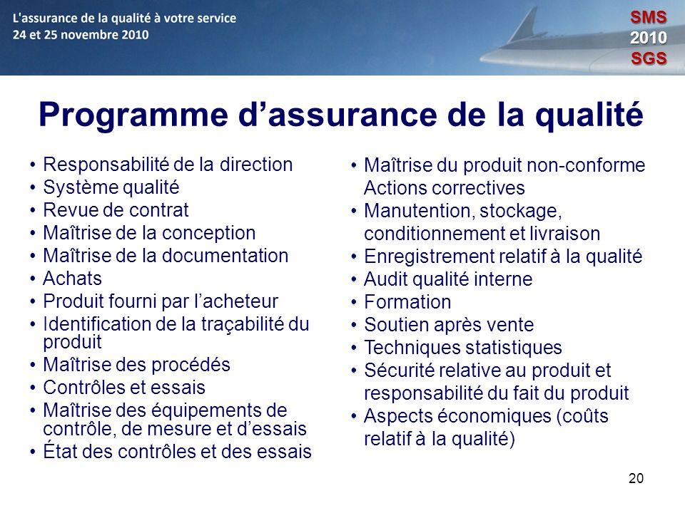 20 Programme dassurance de la qualité Responsabilité de la direction Système qualité Revue de contrat Maîtrise de la conception Maîtrise de la documen