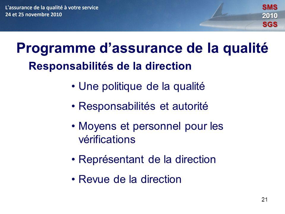 21 Programme dassurance de la qualité Responsabilités de la direction Une politique de la qualité Responsabilités et autorité Moyens et personnel pour