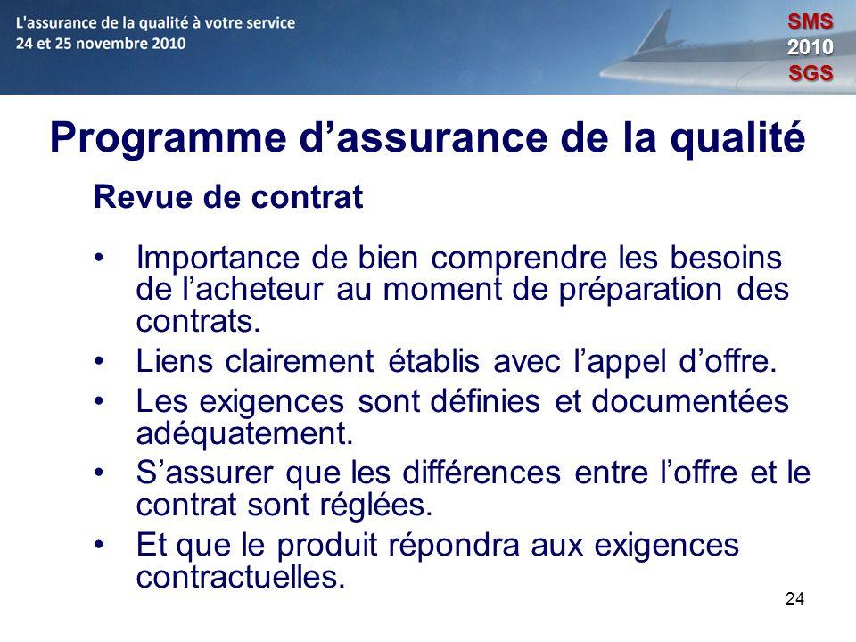 24 Programme dassurance de la qualité Revue de contrat Importance de bien comprendre les besoins de lacheteur au moment de préparation des contrats. L