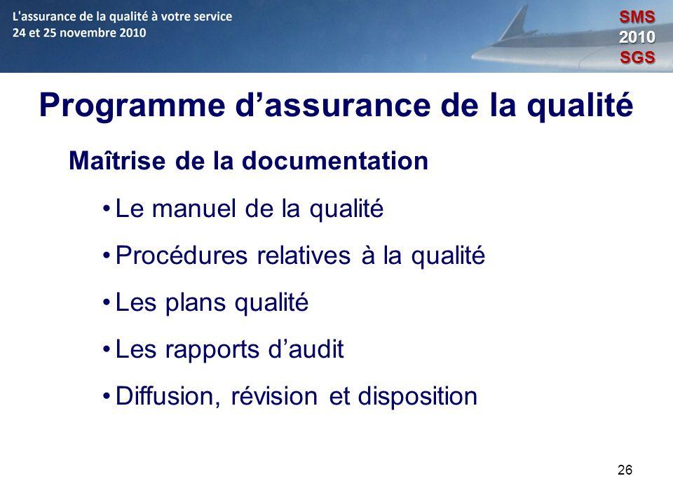 26 Programme dassurance de la qualité Maîtrise de la documentation Le manuel de la qualité Procédures relatives à la qualité Les plans qualité Les rap