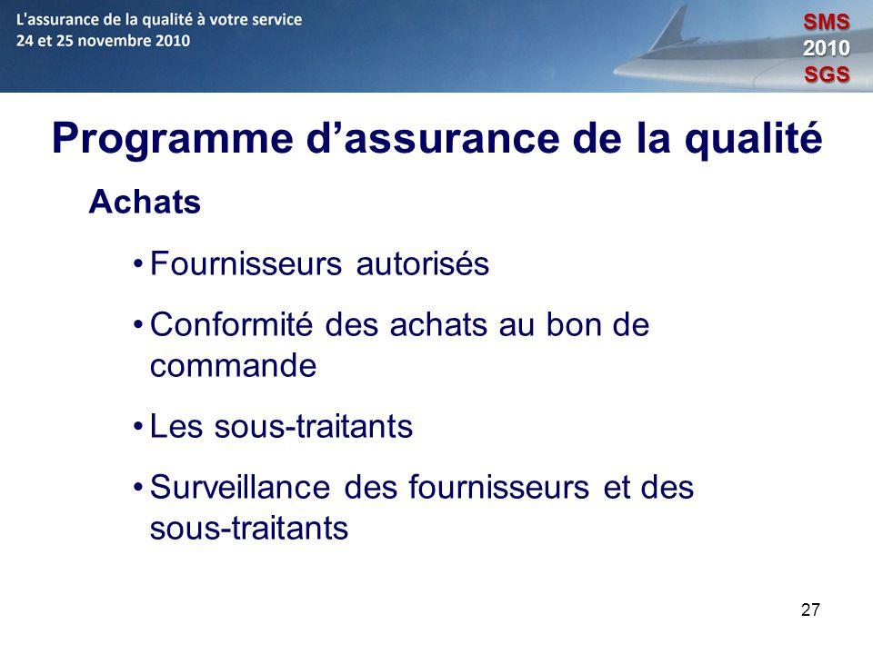 27 Programme dassurance de la qualité Achats Fournisseurs autorisés Conformité des achats au bon de commande Les sous-traitants Surveillance des fourn