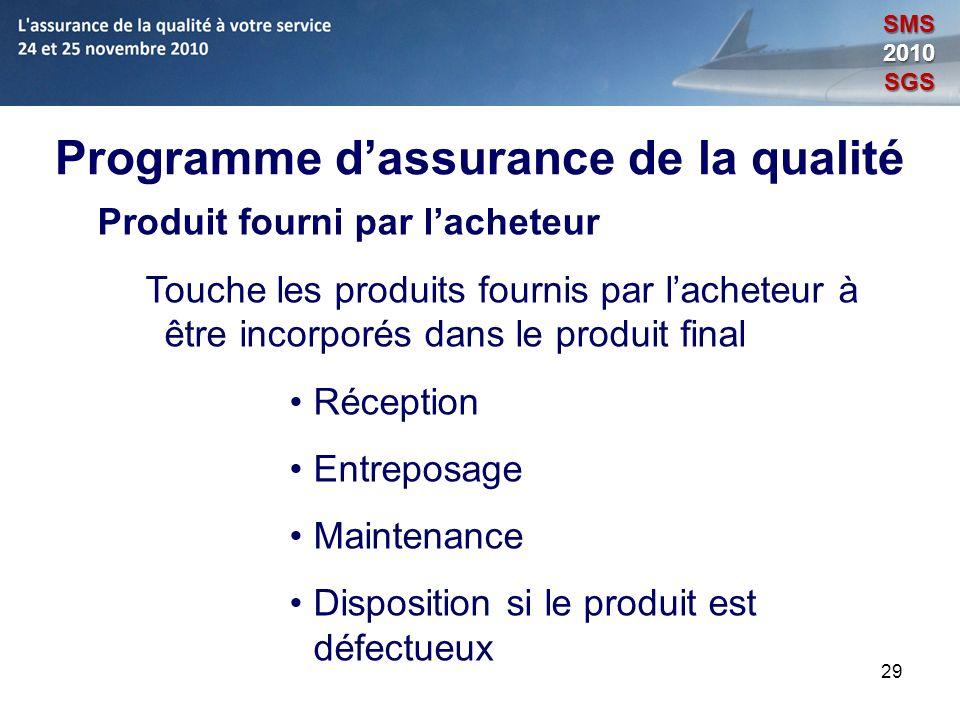 29 Programme dassurance de la qualité Produit fourni par lacheteur Touche les produits fournis par lacheteur à être incorporés dans le produit final R