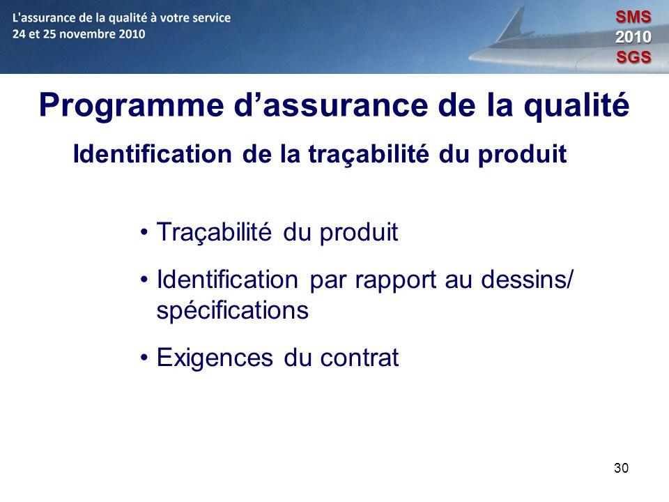 30 Programme dassurance de la qualité Identification de la traçabilité du produit Traçabilité du produit Identification par rapport au dessins/ spécif