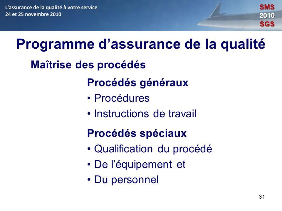 31 Programme dassurance de la qualité Maîtrise des procédés Procédés généraux Procédures Instructions de travail Procédés spéciaux Qualification du pr