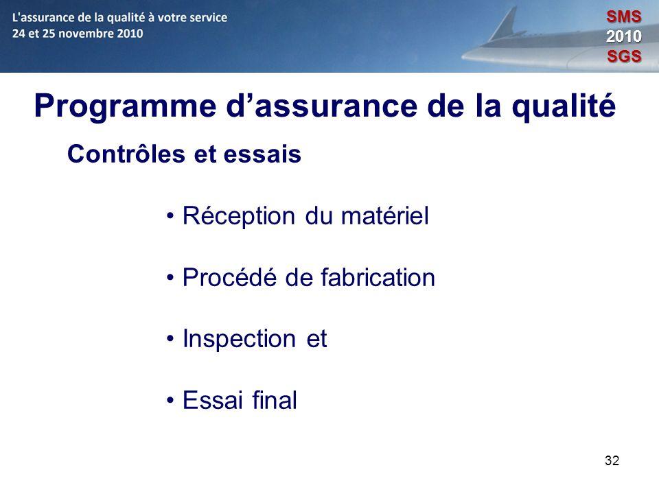 32 Programme dassurance de la qualité Contrôles et essais Réception du matériel Procédé de fabrication Inspection et Essai final SMS2010SGS