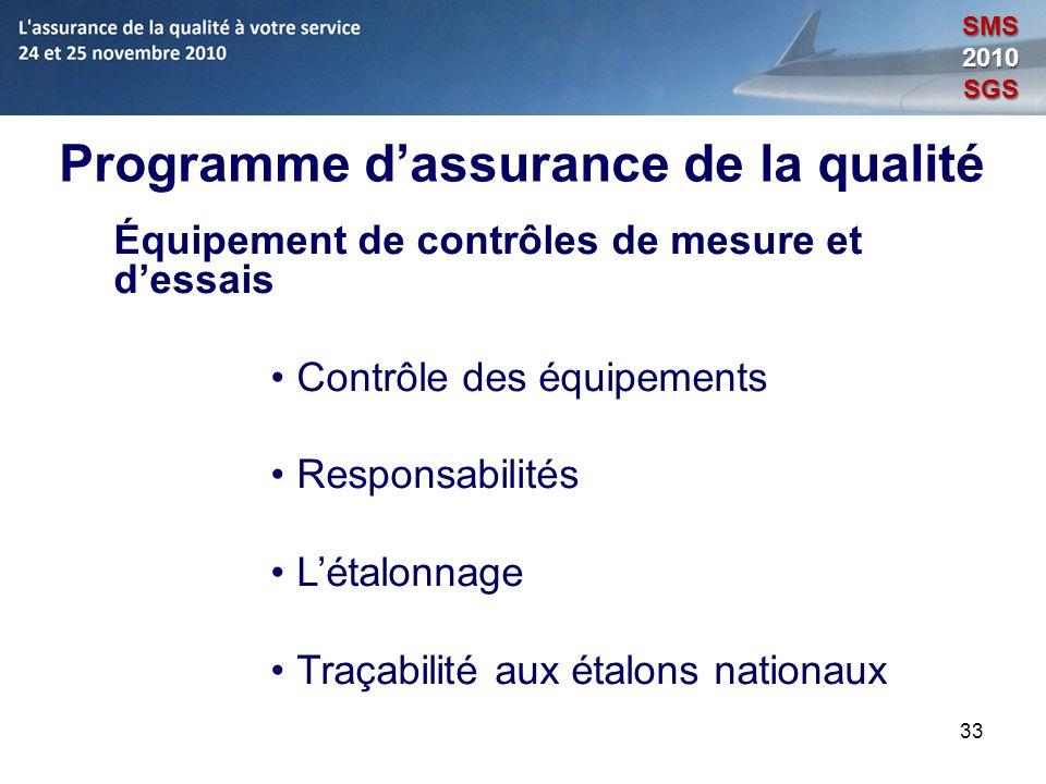 33 Programme dassurance de la qualité Équipement de contrôles de mesure et dessais Contrôle des équipements Responsabilités Létalonnage Traçabilité au
