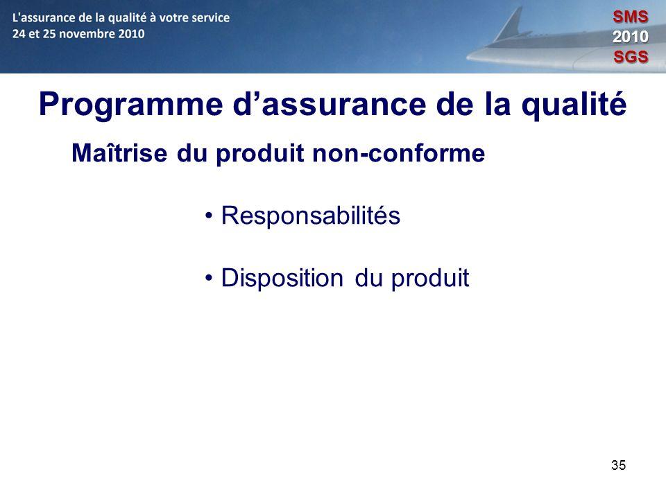 35 Programme dassurance de la qualité Maîtrise du produit non-conforme Responsabilités Disposition du produit SMS2010SGS