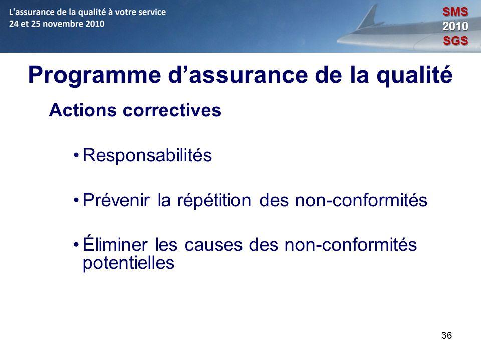 36 Programme dassurance de la qualité Actions correctives Responsabilités Prévenir la répétition des non-conformités Éliminer les causes des non-confo