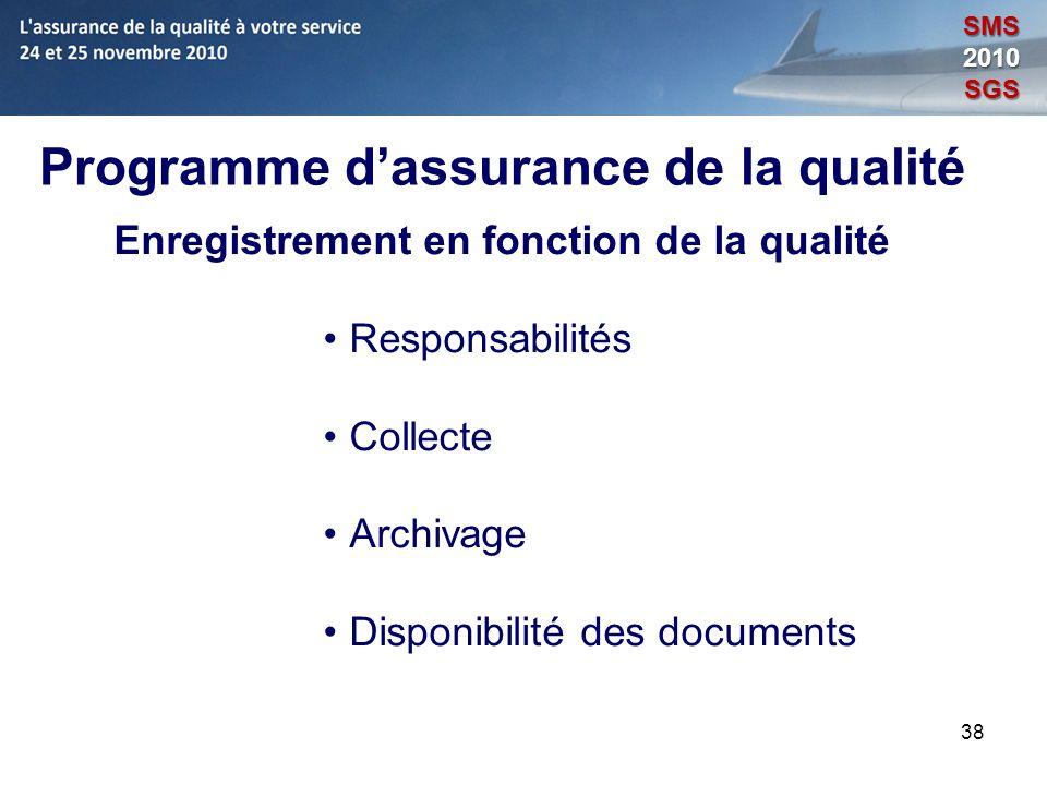 38 Programme dassurance de la qualité Enregistrement en fonction de la qualité Responsabilités Collecte Archivage Disponibilité des documents SMS2010S