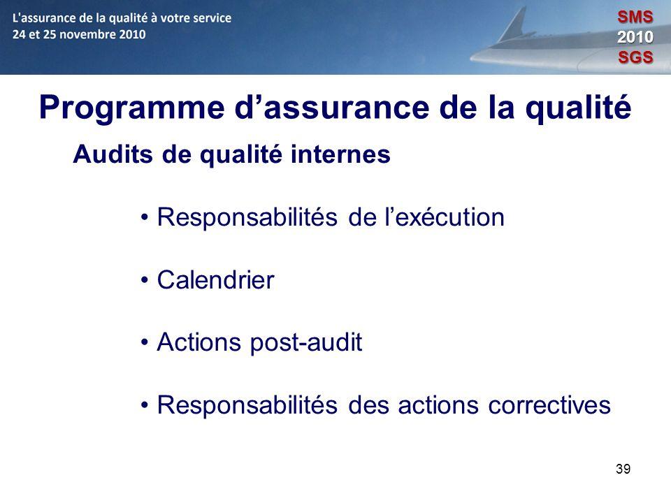 39 Programme dassurance de la qualité Audits de qualité internes Responsabilités de lexécution Calendrier Actions post-audit Responsabilités des actio