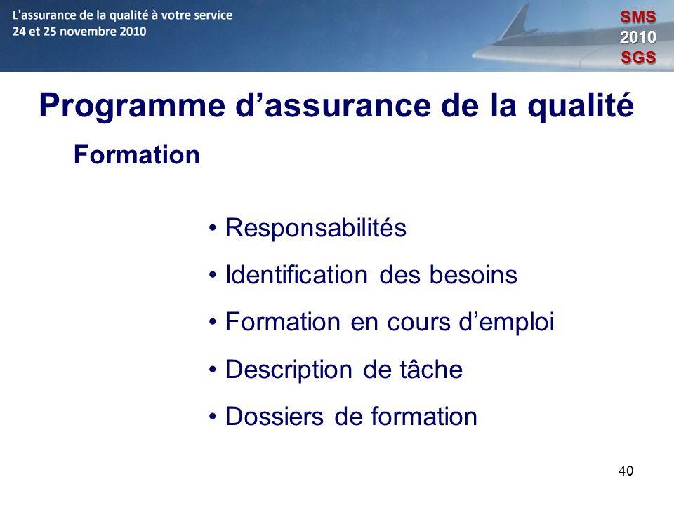 40 Programme dassurance de la qualité Formation Responsabilités Identification des besoins Formation en cours demploi Description de tâche Dossiers de