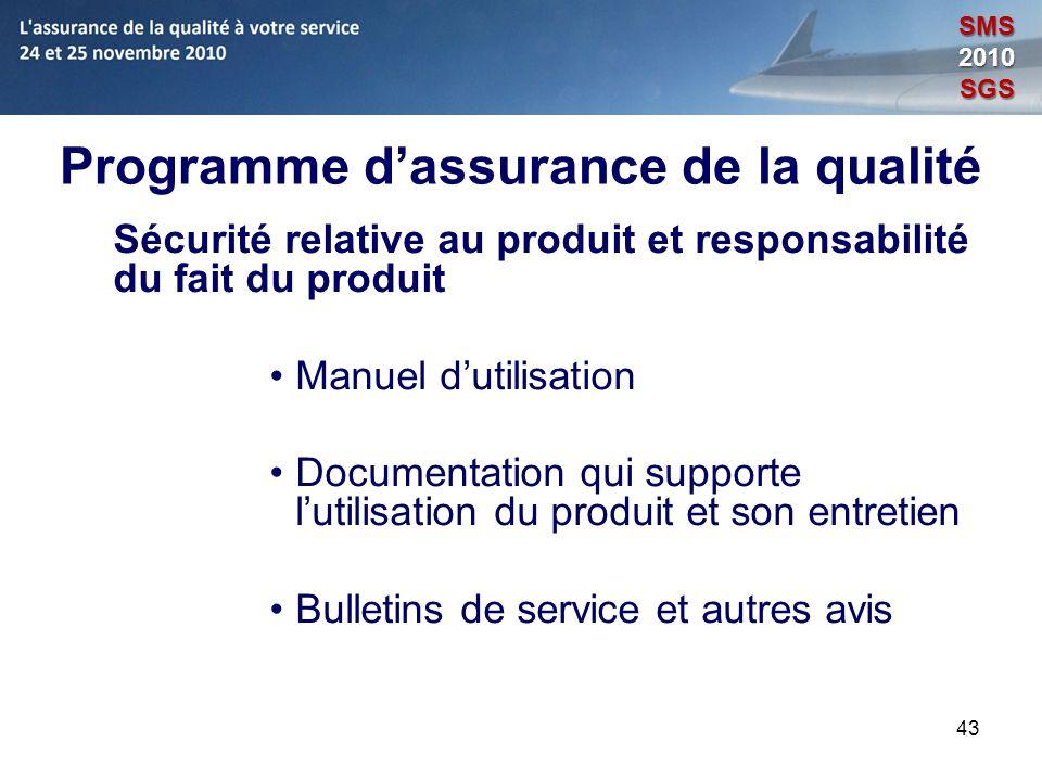 43 Programme dassurance de la qualité Sécurité relative au produit et responsabilité du fait du produit Manuel dutilisation Documentation qui supporte
