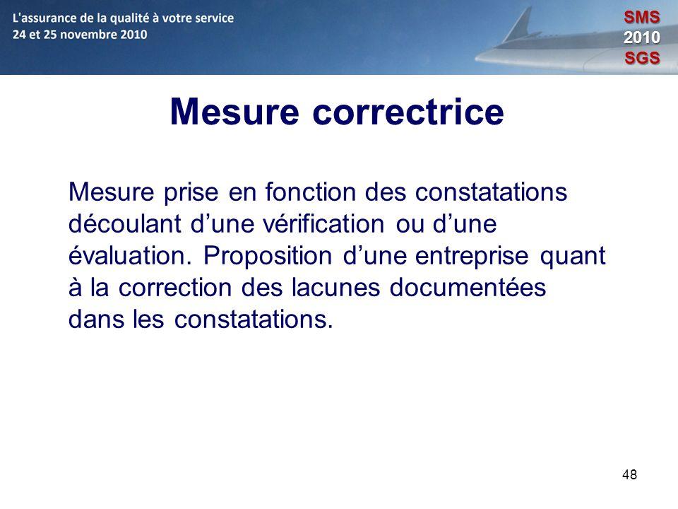 48 Mesure correctrice Mesure prise en fonction des constatations découlant dune vérification ou dune évaluation. Proposition dune entreprise quant à l