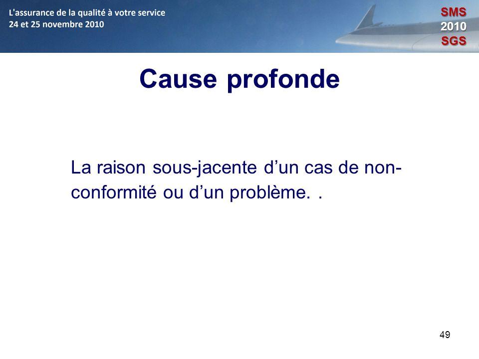 49 Cause profonde La raison sous-jacente dun cas de non- conformité ou dun problème.. SMS2010SGS