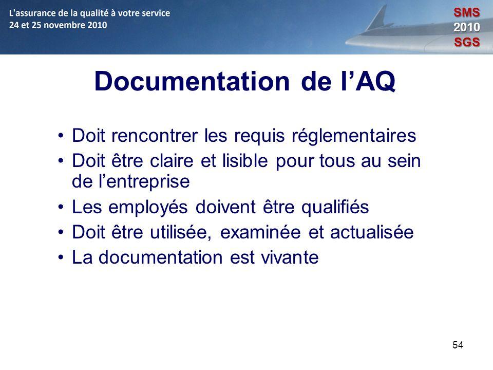 54 Documentation de lAQ Doit rencontrer les requis réglementaires Doit être claire et lisible pour tous au sein de lentreprise Les employés doivent êt