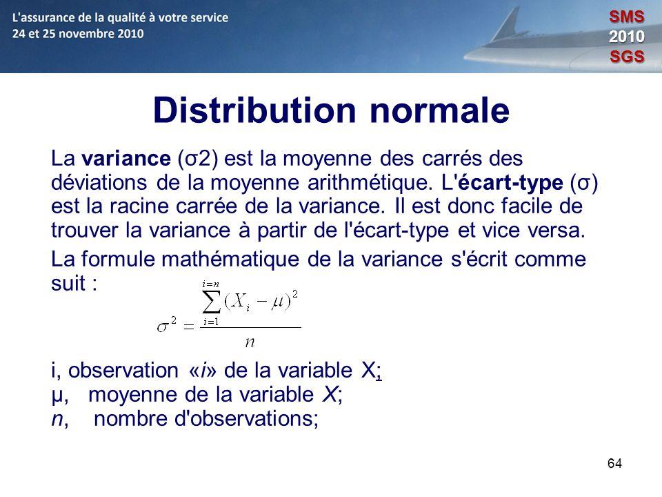 64 Distribution normale La variance (σ2) est la moyenne des carrés des déviations de la moyenne arithmétique. L'écart-type (σ) est la racine carrée de