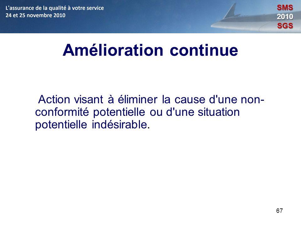 67 Amélioration continue Action visant à éliminer la cause d'une non- conformité potentielle ou d'une situation potentielle indésirable. SMS2010SGS