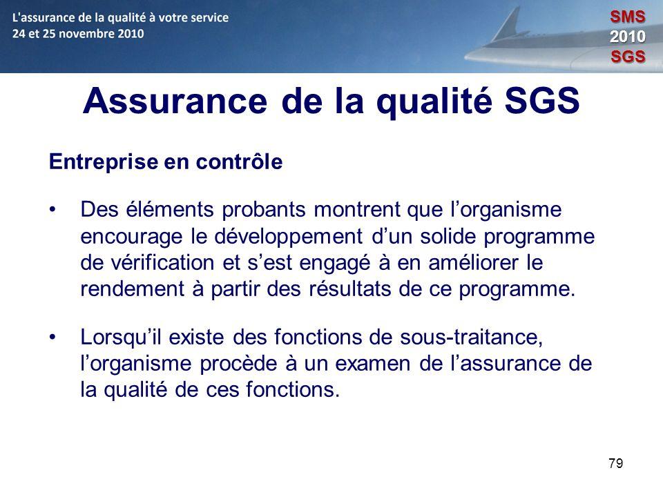 79 Assurance de la qualité SGS Entreprise en contrôle Des éléments probants montrent que lorganisme encourage le développement dun solide programme de