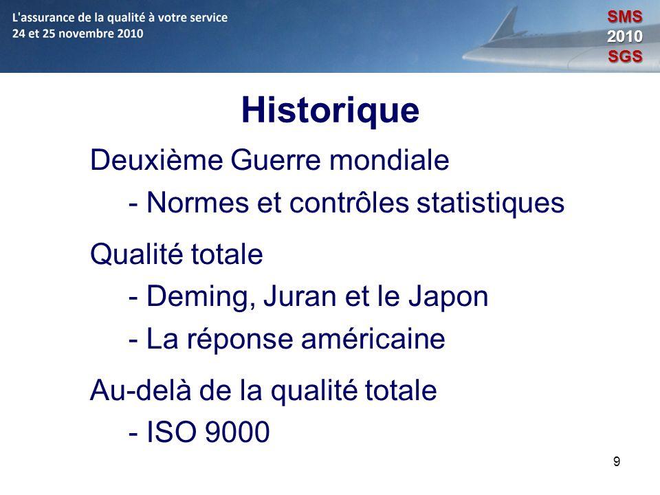9 Historique Deuxième Guerre mondiale - Normes et contrôles statistiques Qualité totale - Deming, Juran et le Japon - La réponse américaine Au-delà de