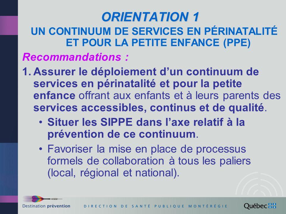 ORIENTATION1 (suite) ORIENTATION 1 (suite) Recommandations : 2.Clarifier les liens entre le programme SIPPE et le programme dintervention en négligence.