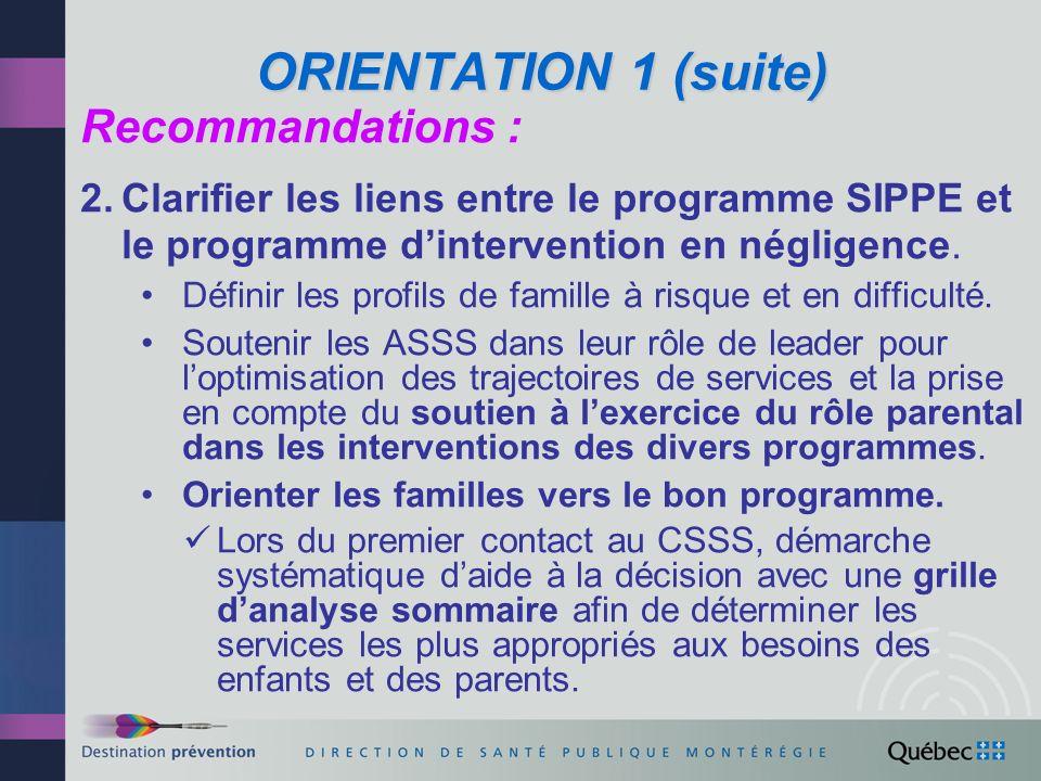 ORIENTATION1 (suite) ORIENTATION 1 (suite) Recommandations : 3.Avoir, au palier local, une vision commune tant des besoins des enfants et des parents que des trajectoires de services.