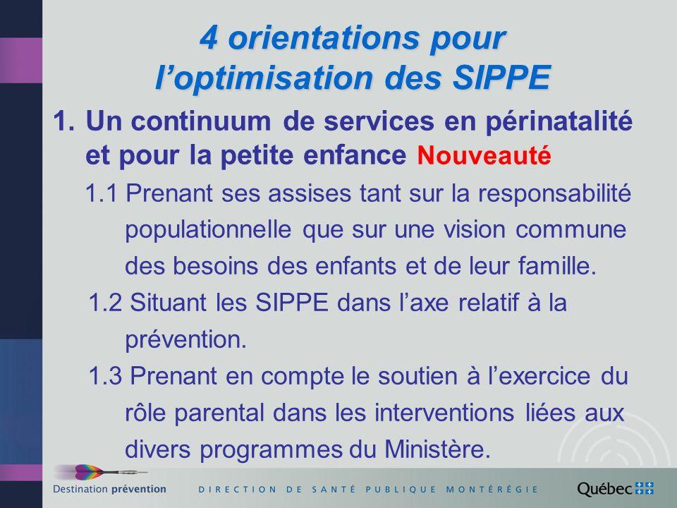 Orientations pour loptimisation des SIPPE (suite) 2.
