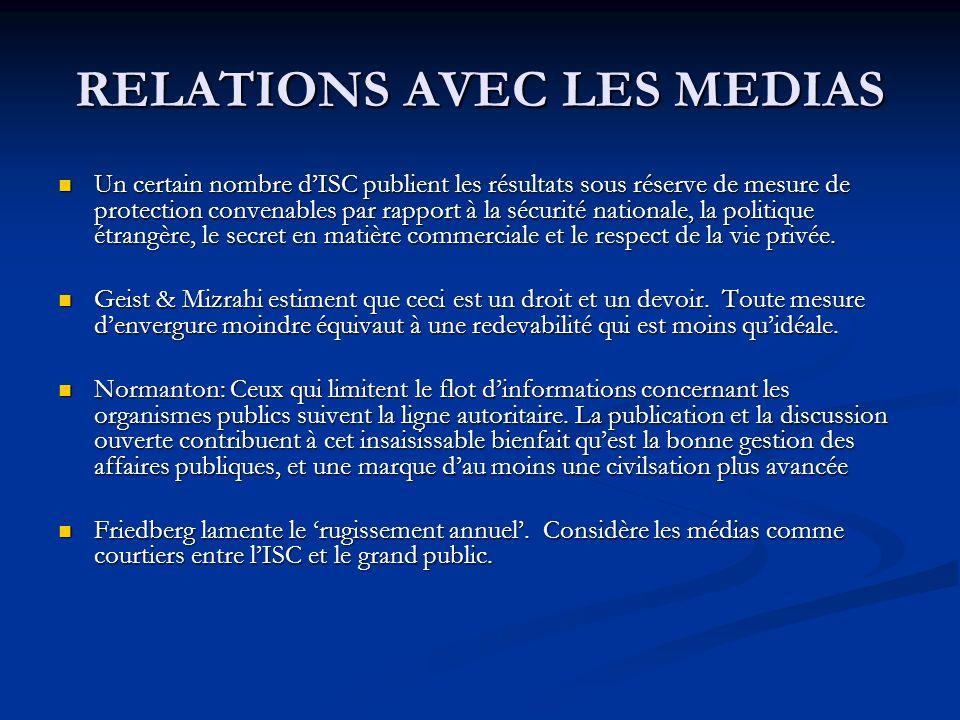 RELATIONS AVEC LES MEDIAS Un certain nombre dISC publient les résultats sous réserve de mesure de protection convenables par rapport à la sécurité nationale, la politique étrangère, le secret en matière commerciale et le respect de la vie privée.
