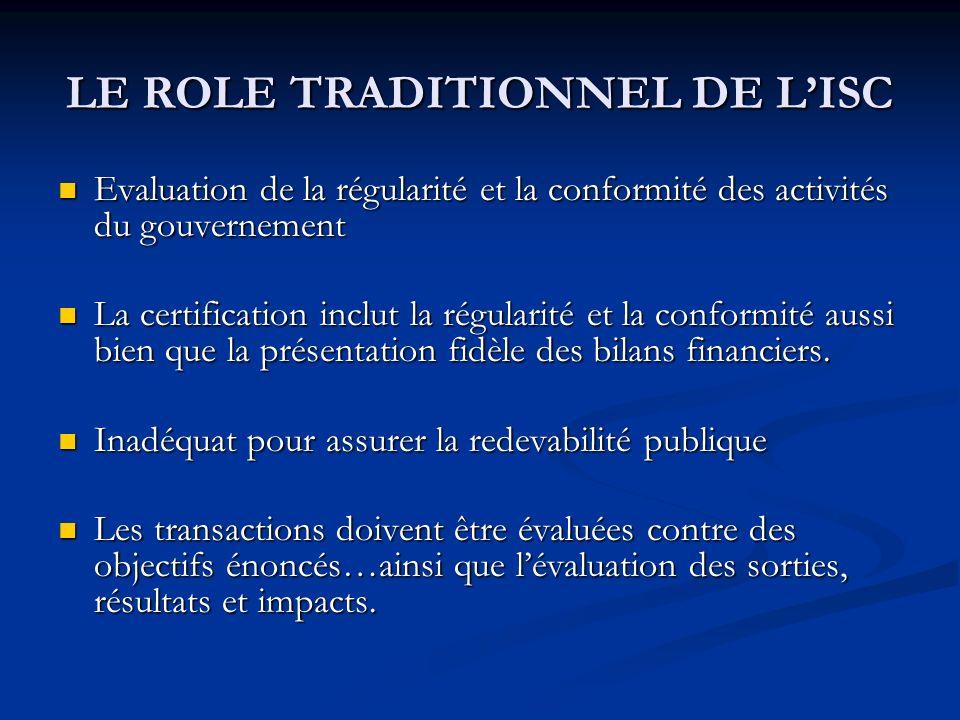 LE ROLE TRADITIONNEL DE LISC Evaluation de la régularité et la conformité des activités du gouvernement Evaluation de la régularité et la conformité des activités du gouvernement La certification inclut la régularité et la conformité aussi bien que la présentation fidèle des bilans financiers.