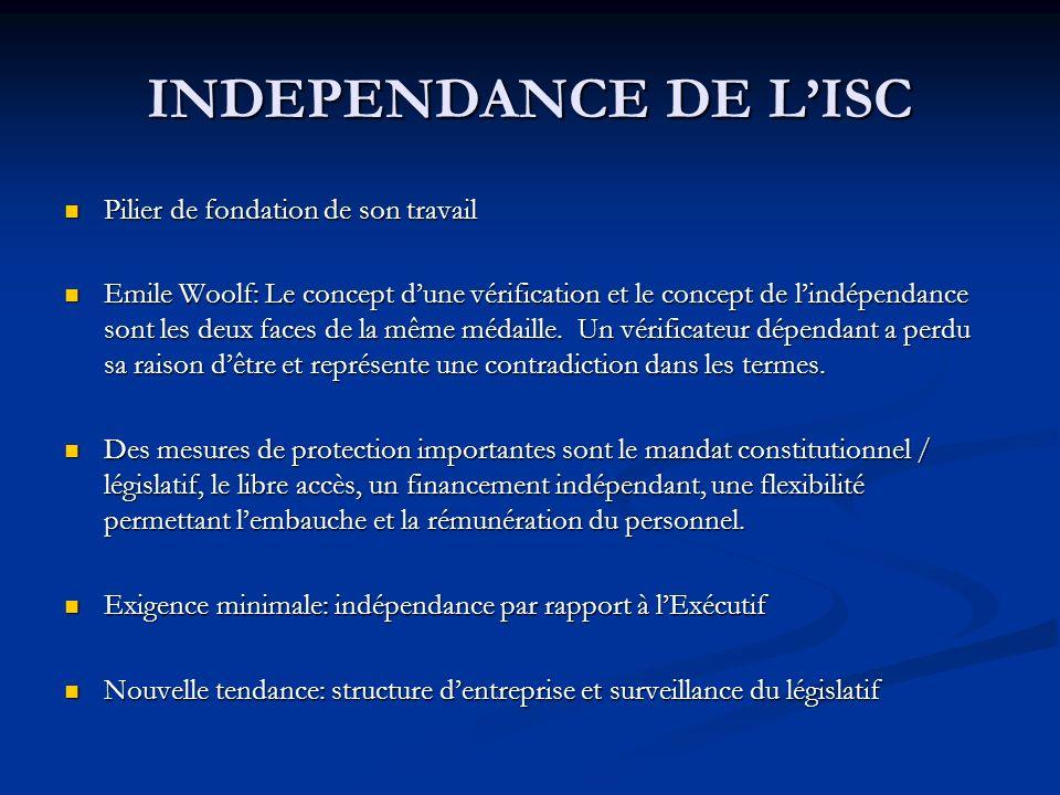 INDEPENDANCE DE LISC Pilier de fondation de son travail Pilier de fondation de son travail Emile Woolf: Le concept dune vérification et le concept de lindépendance sont les deux faces de la même médaille.