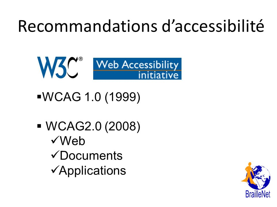 Recommandations daccessibilité WCAG 1.0 (1999) WCAG2.0 (2008) Web Documents Applications