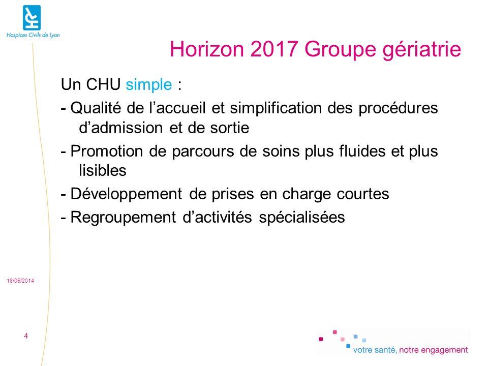 Horizon 2017 Groupe gériatrie Un CHU simple : - Qualité de laccueil et simplification des procédures dadmission et de sortie - Promotion de parcours de soins plus fluides et plus lisibles - Développement de prises en charge courtes - Regroupement dactivités spécialisées 18/05/2014 4