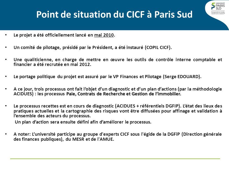 Point de situation du CICF à Paris Sud Le projet a été officiellement lancé en mai 2010. Un comité de pilotage, présidé par le Président, a été instau