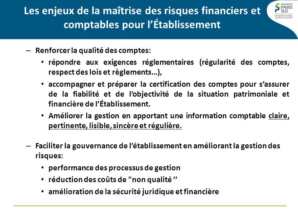 Les enjeux de la maîtrise des risques financiers et comptables pour lÉtablissement – Renforcer la qualité des comptes: répondre aux exigences réglemen