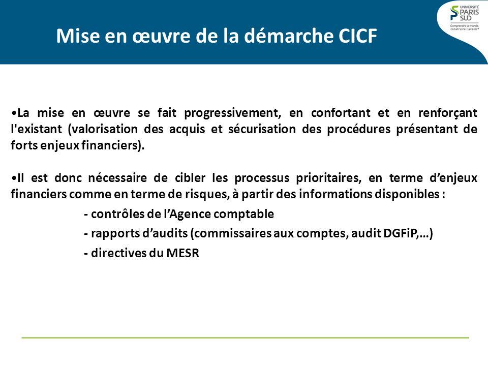 Mise en œuvre de la démarche CICF : La couverture des risques cartographie des risques Les risques identifiés sont formalisés dans une cartographie des risques.